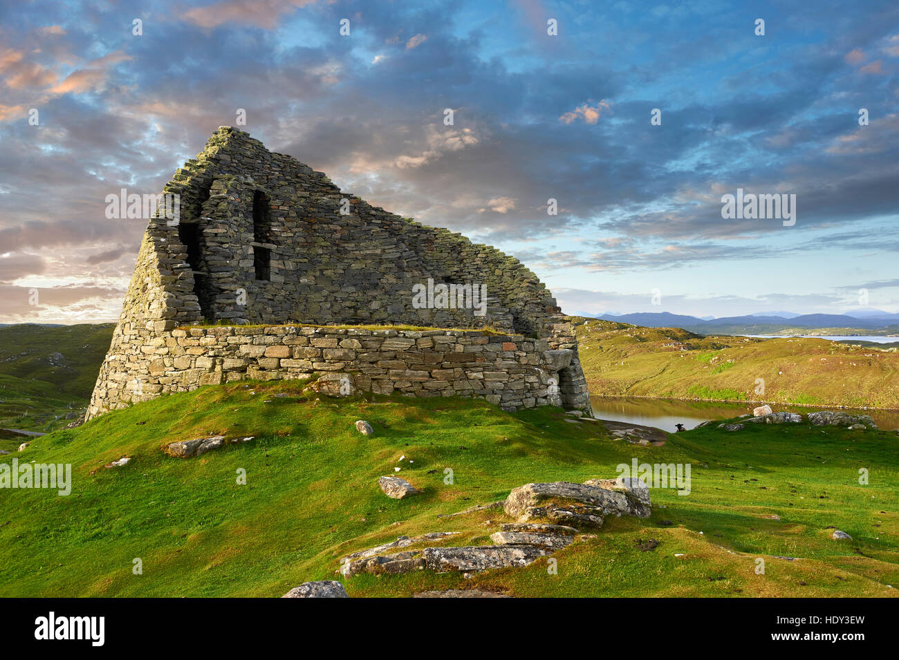 Pictures of Dun Carloway Broch on the Isle of Lewis in the Outer Hebrides, Scotland. Brochs are among Scotland's - Stock Image