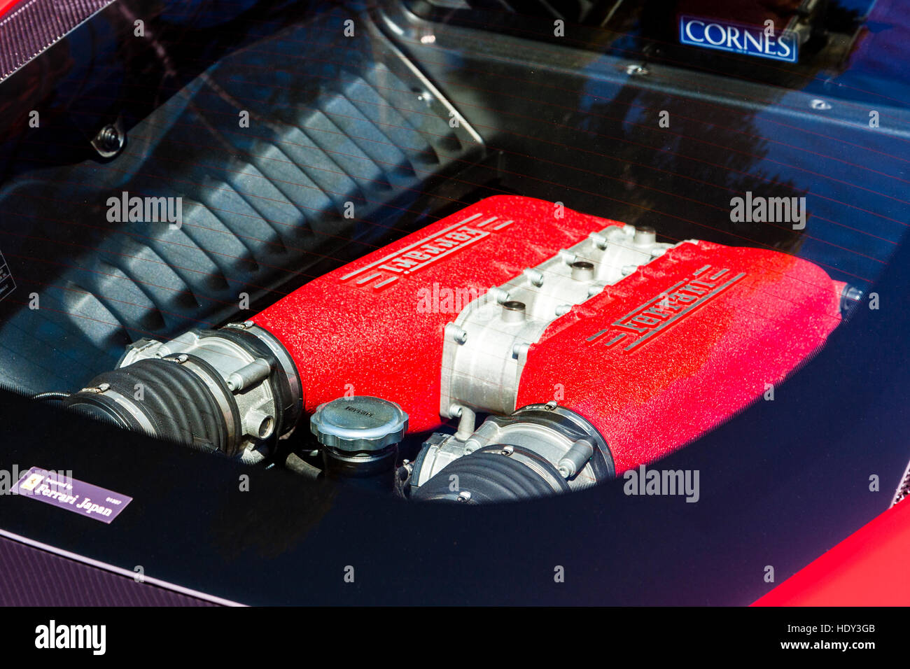 Japan. Red Ferrari 458 Italia car. View of part of F136 V8