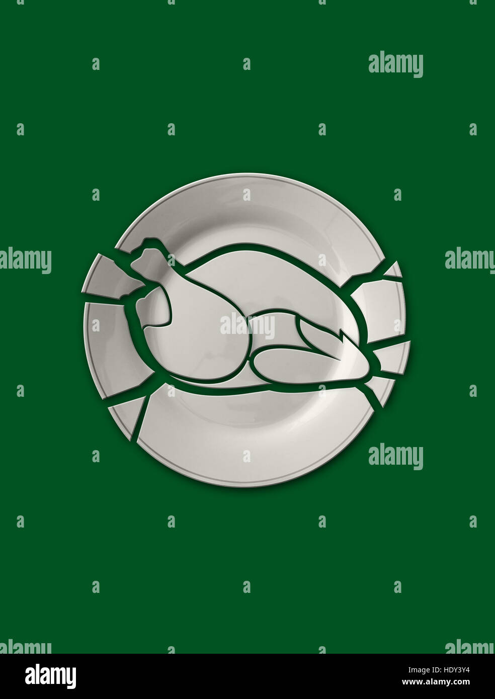 Isolated broken plate in the shape of chicken meat on solid