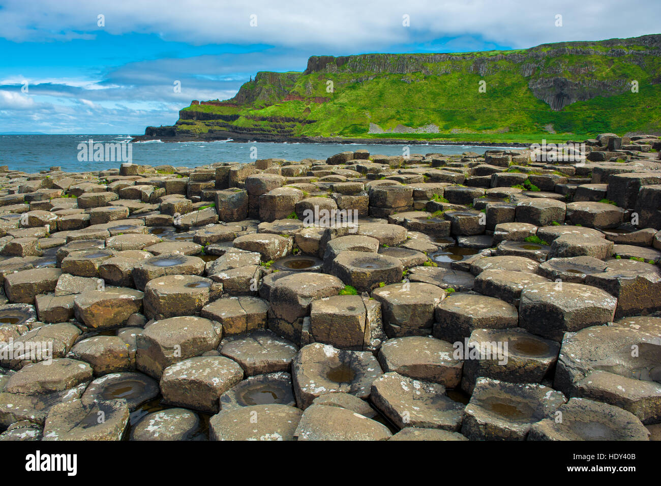 Coast of Giants Causeway in Northern Ireland - Stock Image