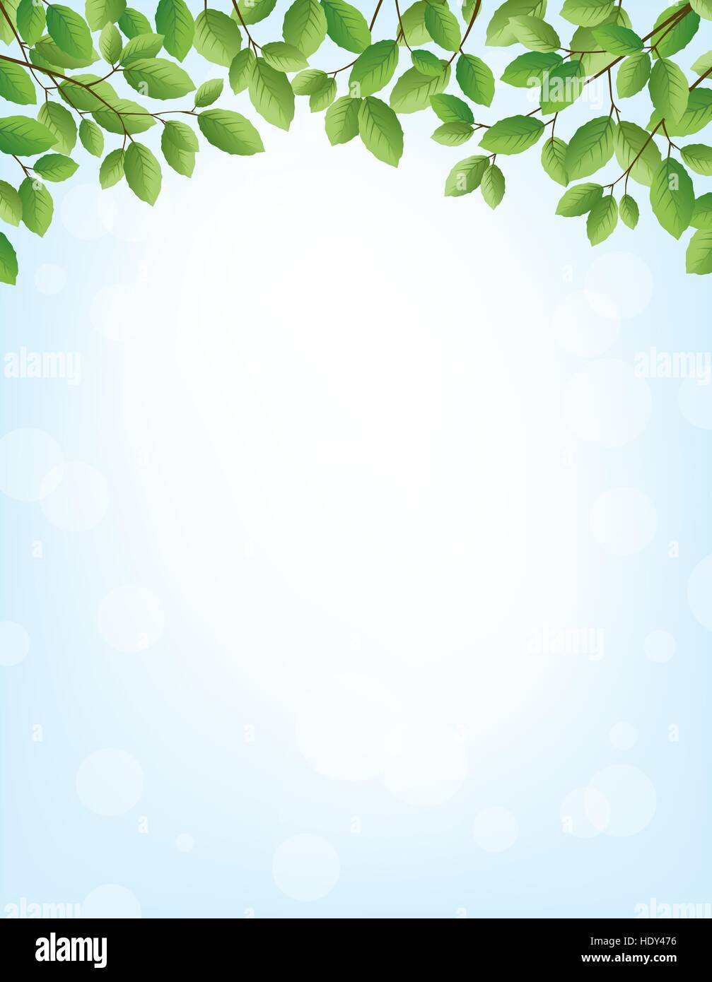 Background for springtime, border of leaves on top, large copy space - Stock Vector