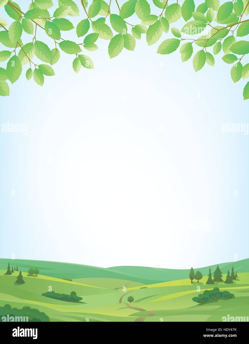 Background for springtime, border of leaves at top, idyllic landscape at bottom, large copy space - Stock Vector