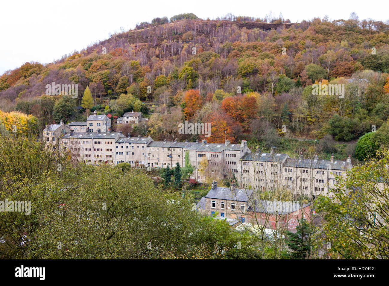 View of a row of house in the Yorkshire mill town of Hebden Bridge, Calderdale, West Yorkshire, England UK - Stock Image