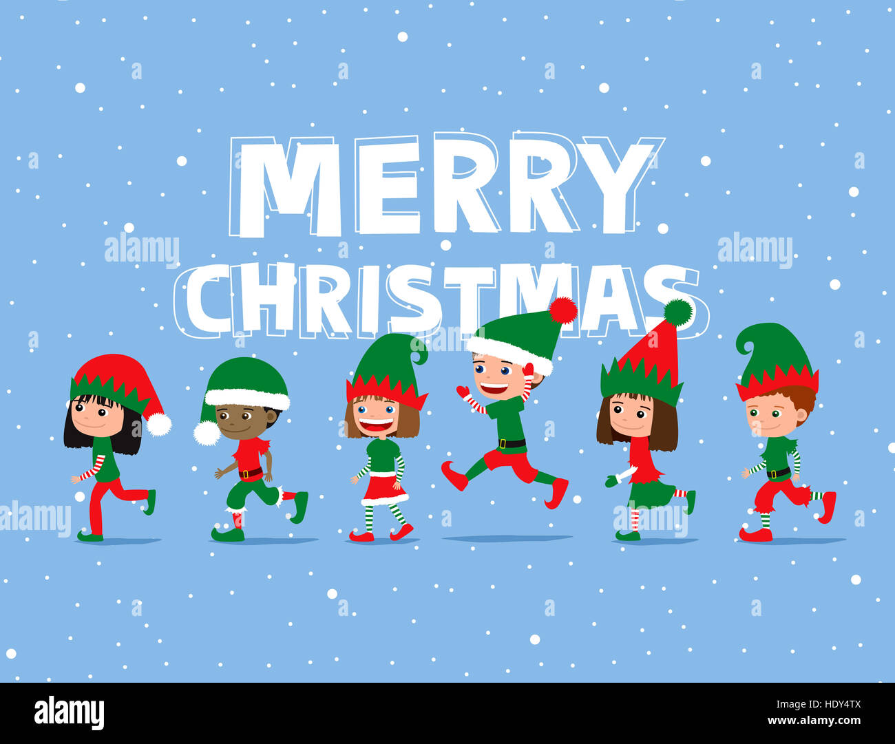Cute Cartoon Kids Wearing Elf Costumes. Greeting Card.