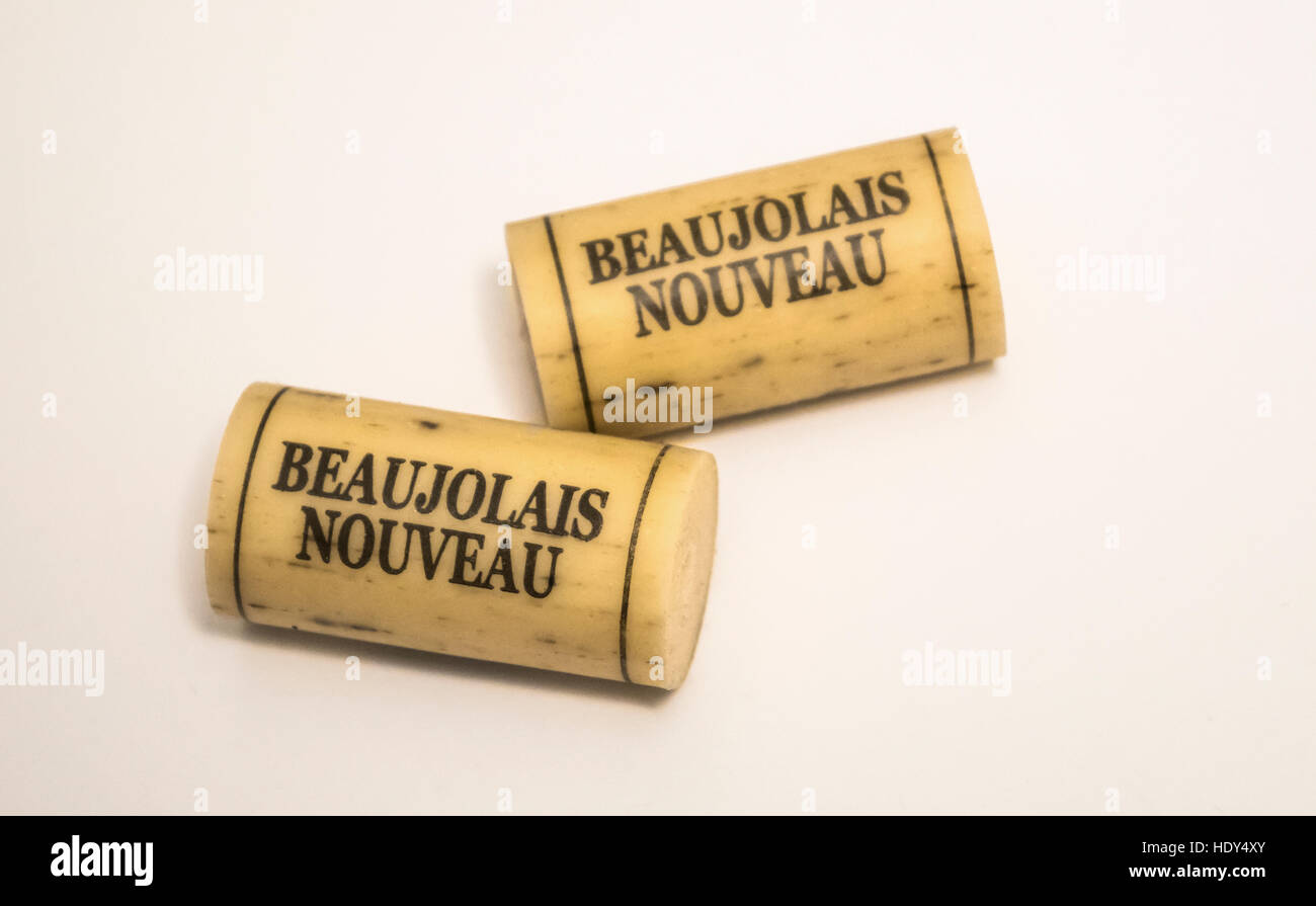 Beaujolais Nouveau synthetic wine corks - Stock Image