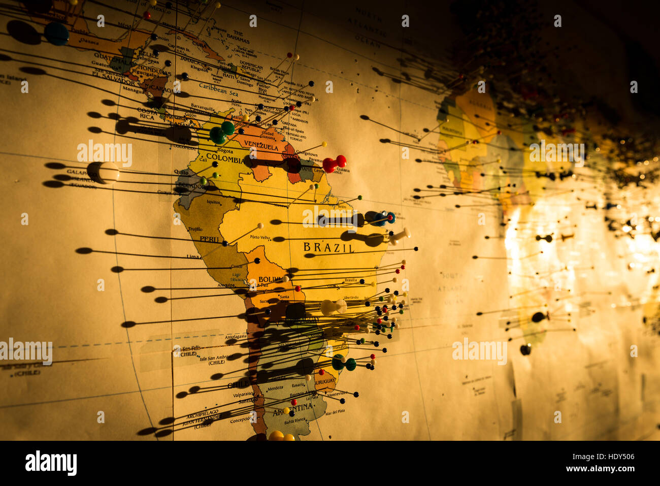 Photo of the pins attached to the map of the world Stock Photo