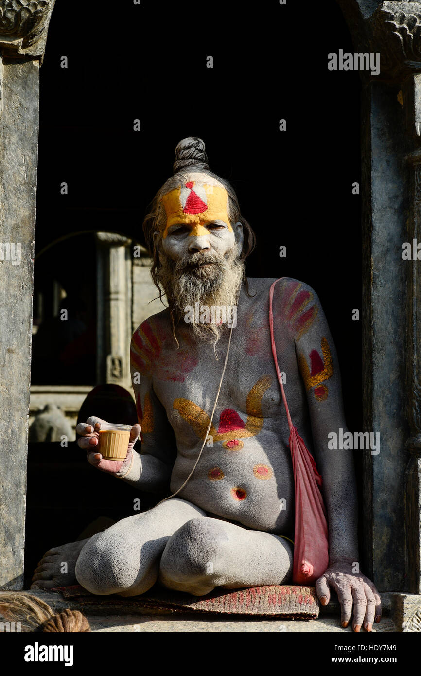 NEPAL Kathmandu, Pashupatinath Hindu Temple, ash saearded sadhu drinks Chai, tea / Asche beschmierter Sadhu trinkt - Stock Image