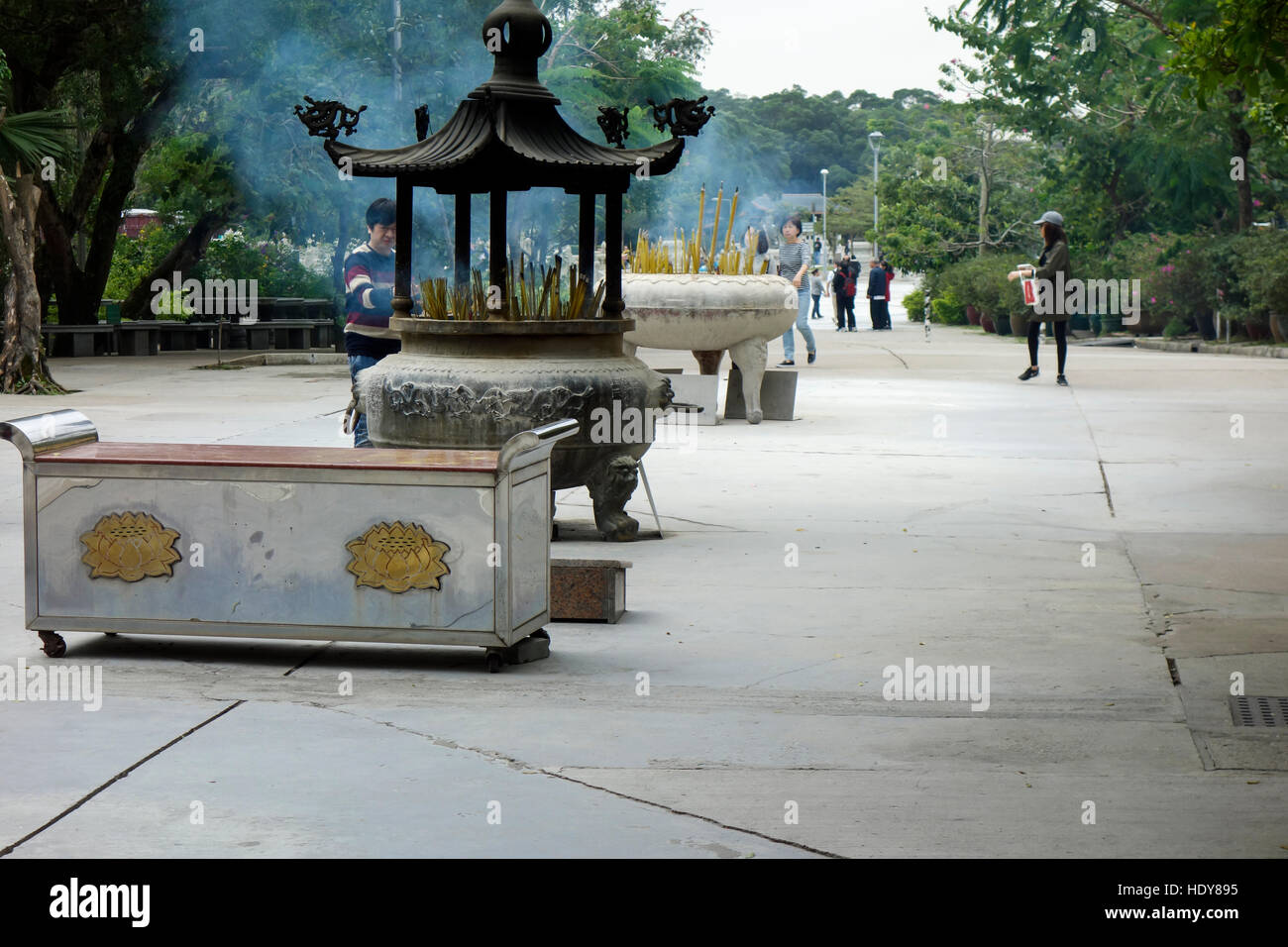 Incense sticks burning at Po Lin monastery at Lantau at Hongkong. - Stock Image