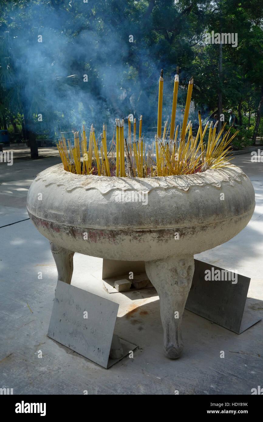 Incense sticks burning at Po Lin monastery at Lantau at Hongkong. - Stock Image