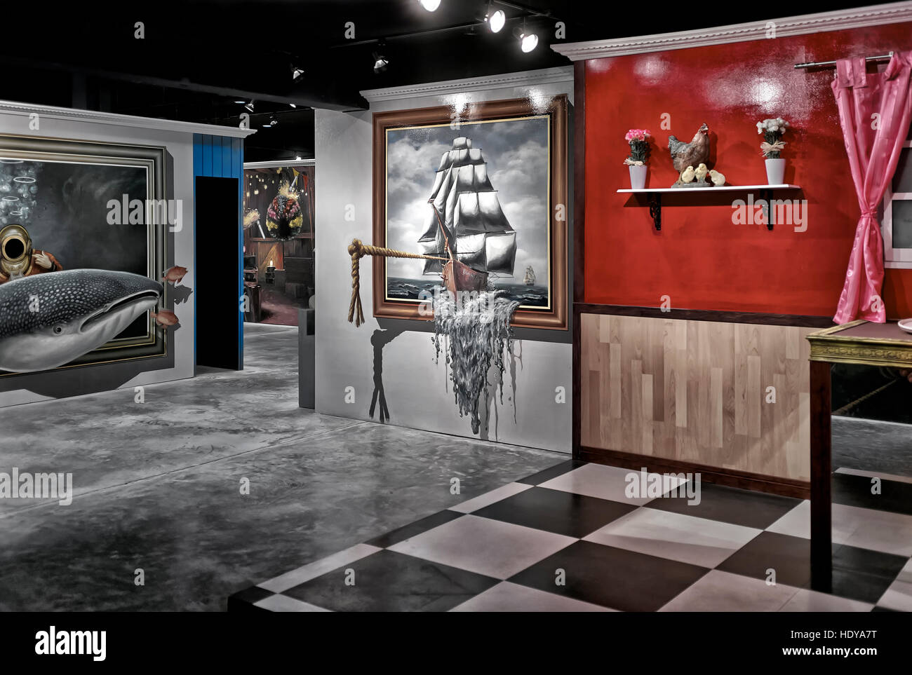 Interior of a trick art optical illusion centre with an array of 3d paintings hua hin thailand s e asia