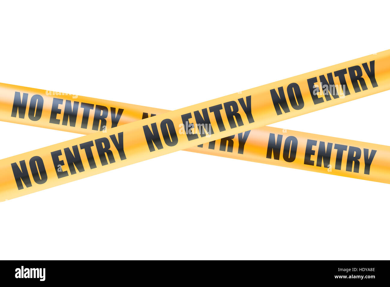 No Entry Caution Barrier Tapes, 3D rendering  isolated on white background - Stock Image