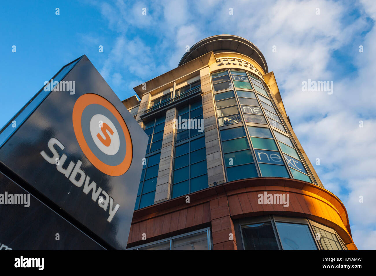 Looking up at the Buchanan galleries from the entrace to Glasgow subway in Buchanan st. - Stock Image