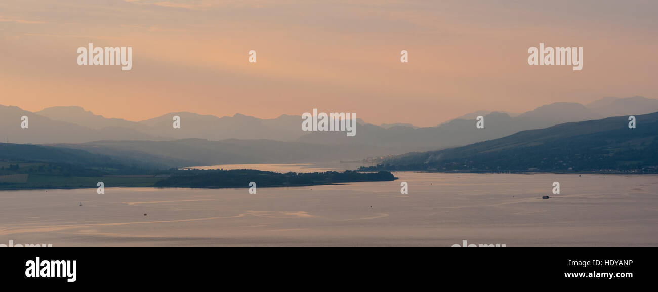 Looking across the River Clyde towards The Gare Loch and Helensborough. - Stock Image