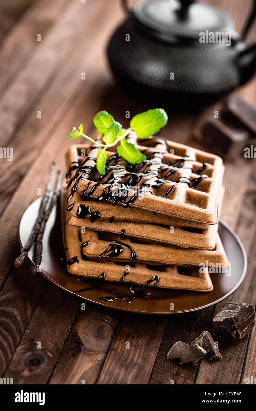 chocolate waffles - Stock Image