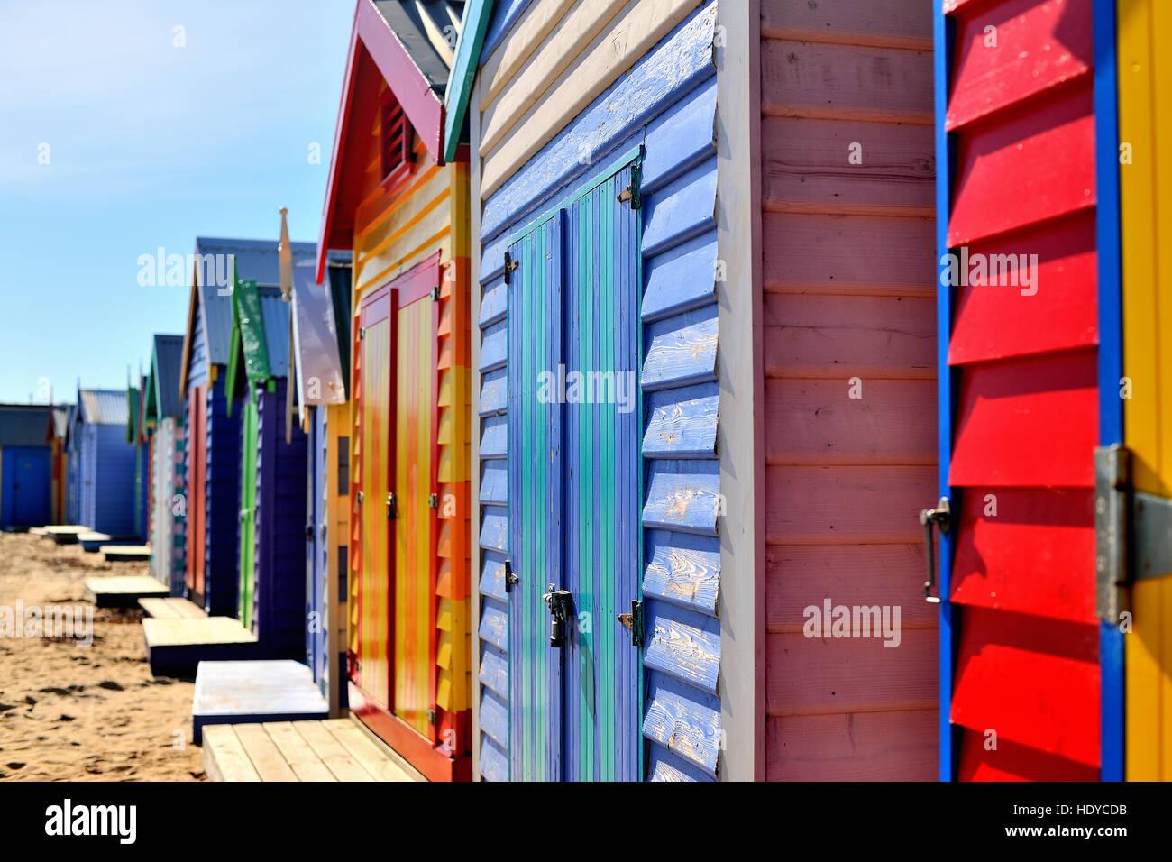 Brighton Bathing Boxes Beach Houses - Stock Image