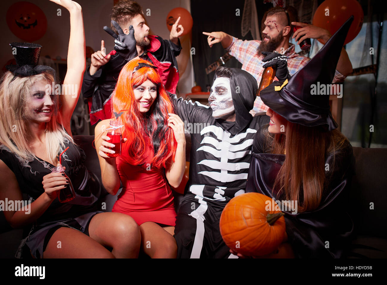 In good moods at halloween party - Stock Image