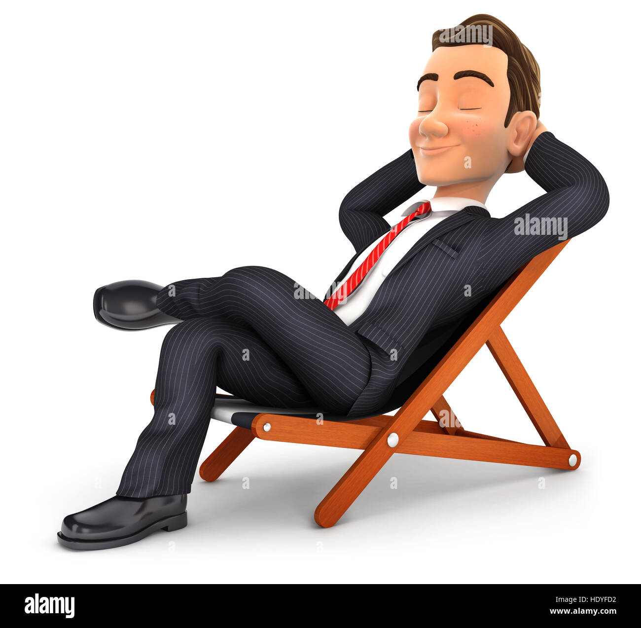 3d businessman relaxing in a deck chair, illustration with isolated white background Stock Photo