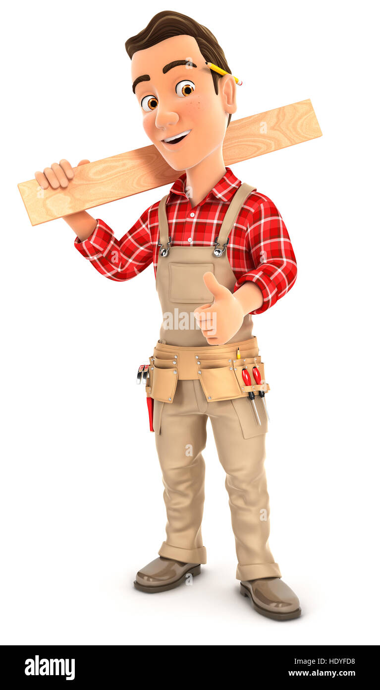 3d handyman carrying wooden plank on shoulder, illustration with isolated white background Stock Photo