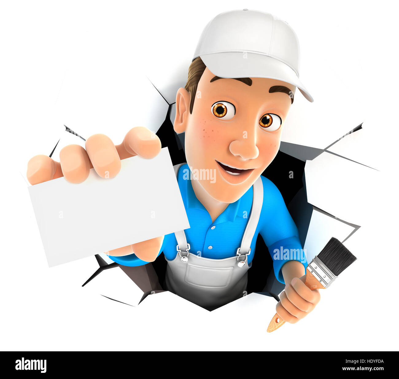 3d painter coming out through a wall with company card, illustration with isolated white background Stock Photo