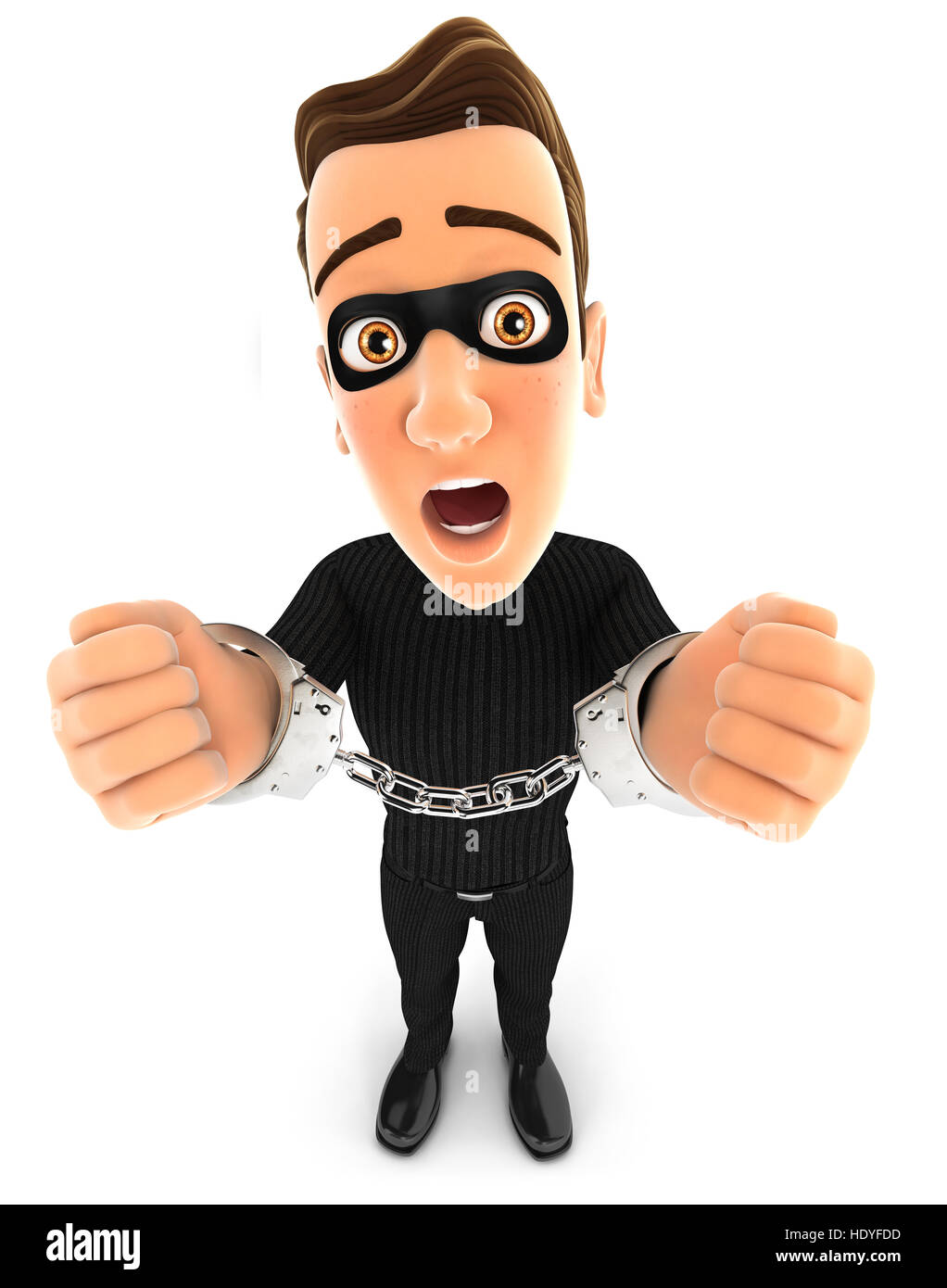 3d thief under arrest and handcuffed, illustration with isolated white background Stock Photo