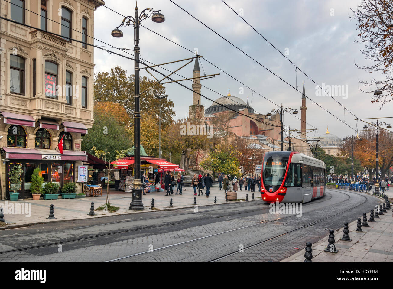 Fall colours at Sultanahmet Square in Istanbul,Turkey - Stock Image