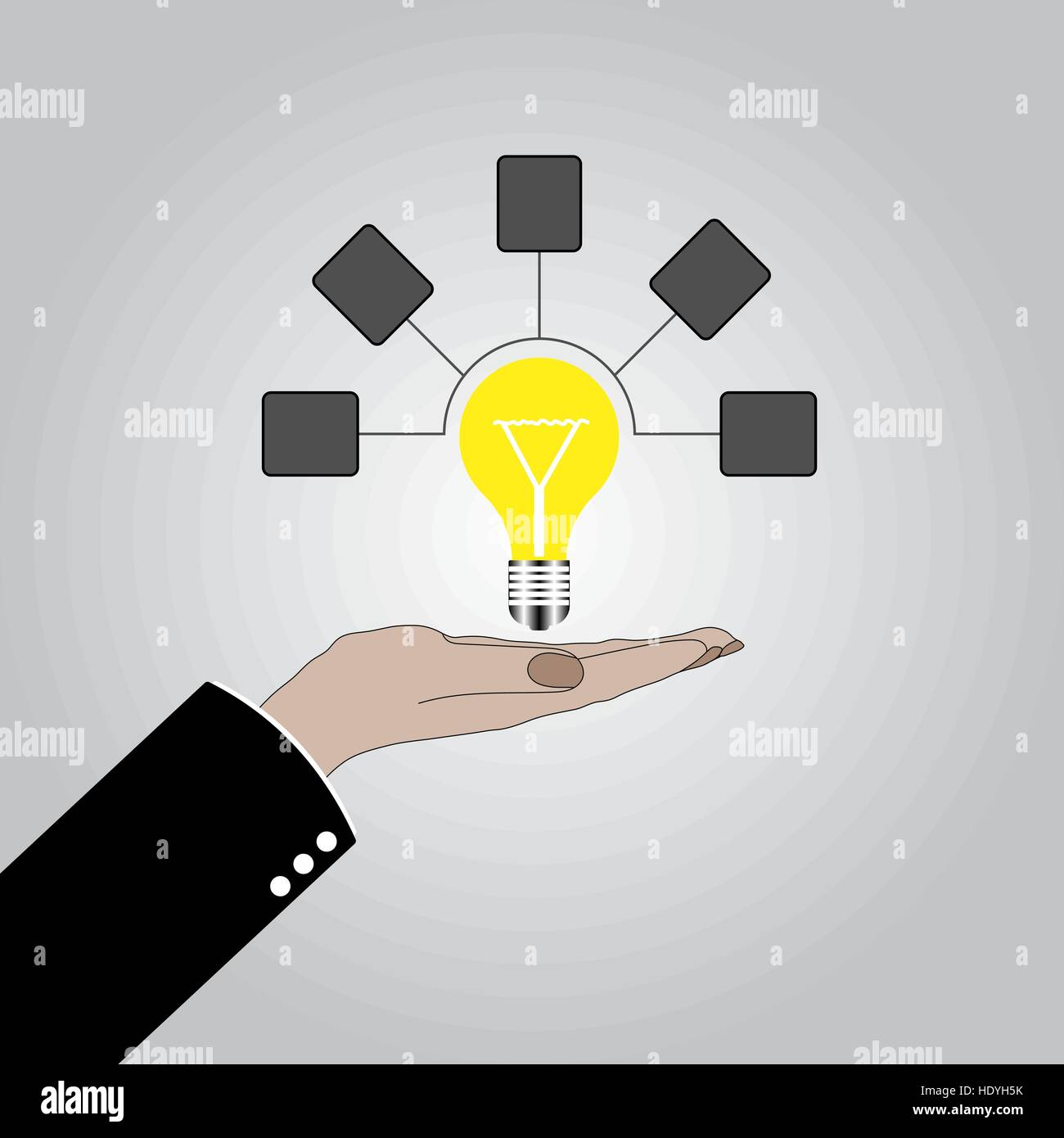 Idees And Solutions: Hand Holding Lightbulb Concept. Business Idea, Solution