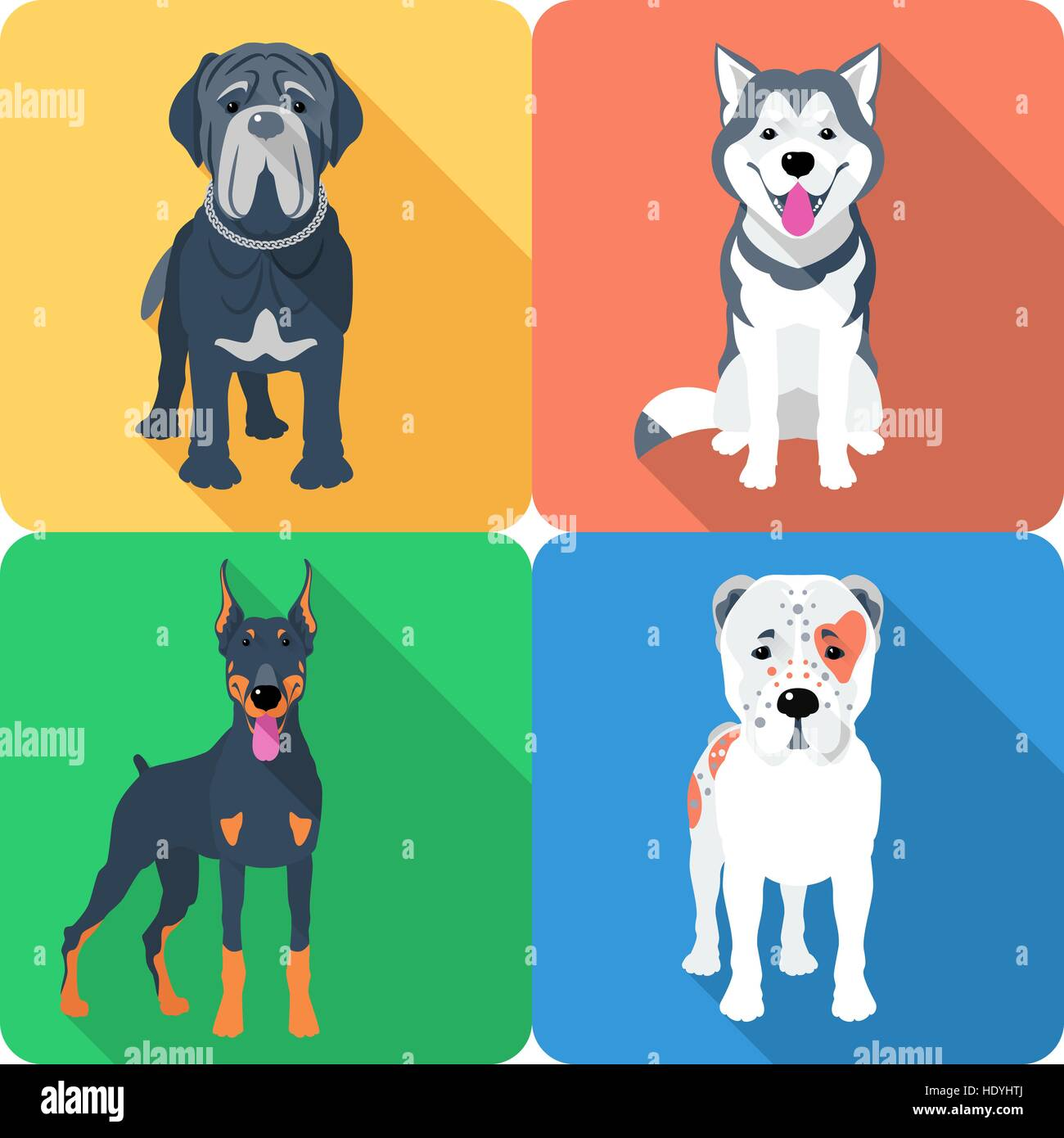Set 9 dog icon flat design - Stock Vector