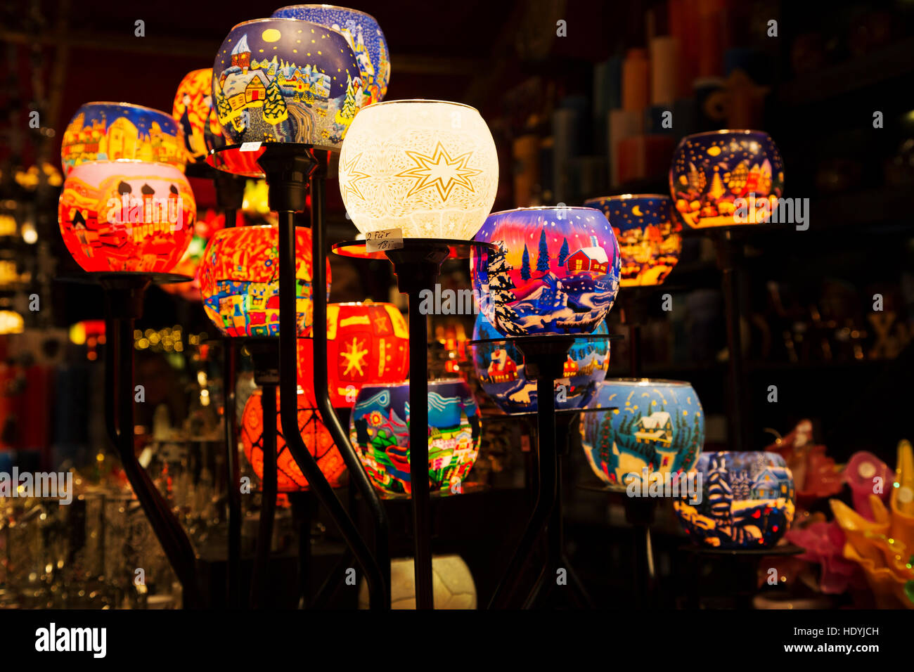 Candle holders at the Baroque Christmas Market at Ludwigsburg in Baden-Wuerttemburg, Germany. The market is ranged - Stock Image