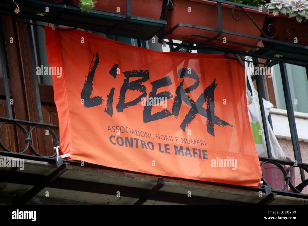'Libera contre le mafie' - Protest gegen die Mafia, Venedig, Italien. - Stock Image