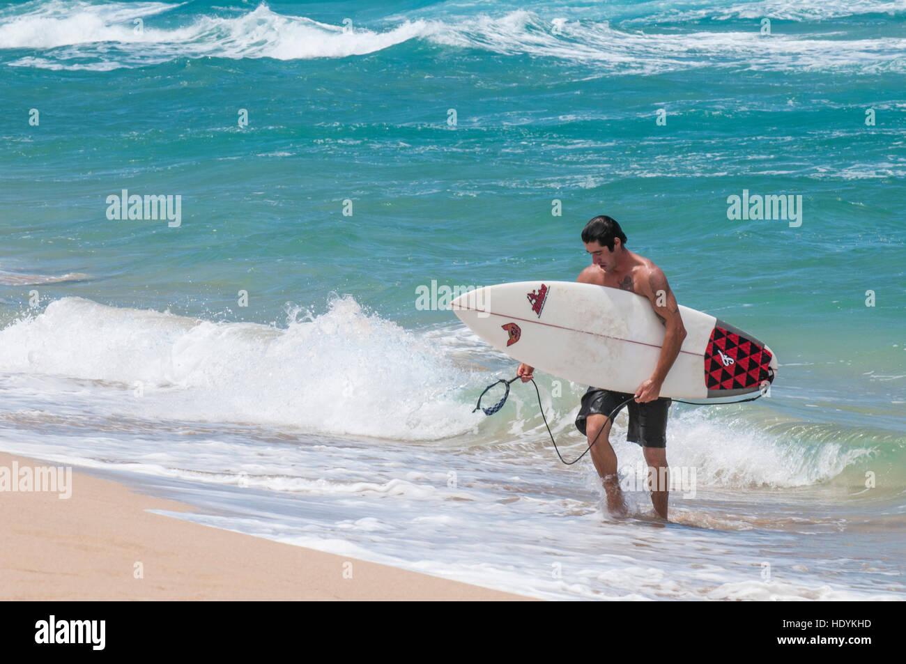 Surfing At Polihale Beach State Park Kauai Hawaii