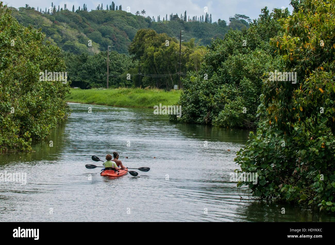 Kayaking on the Wailua River, Kauai, Hawaii Stock Photo
