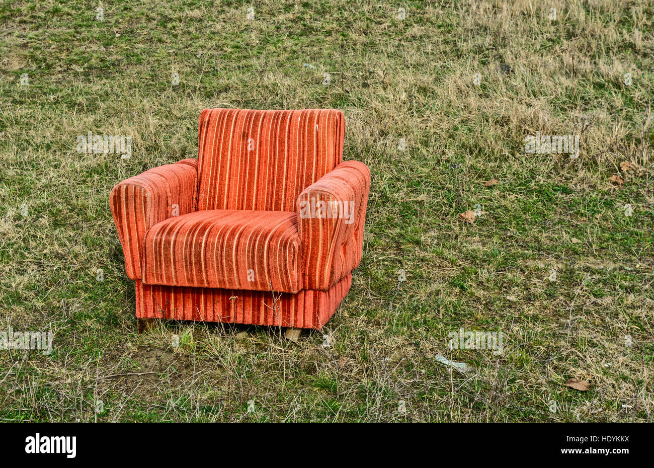 The Old Armchair Left In The Open Field.
