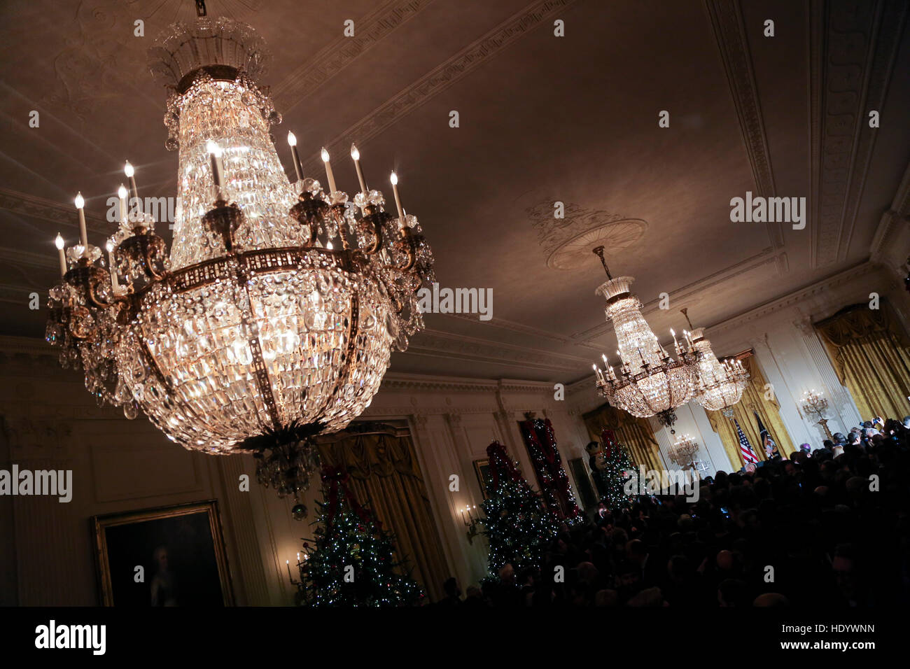 Washington, DC, USA. 14th Dec, 2016. Atmosphere during the second Hanukkah reception of the day in the East Room Stock Photo