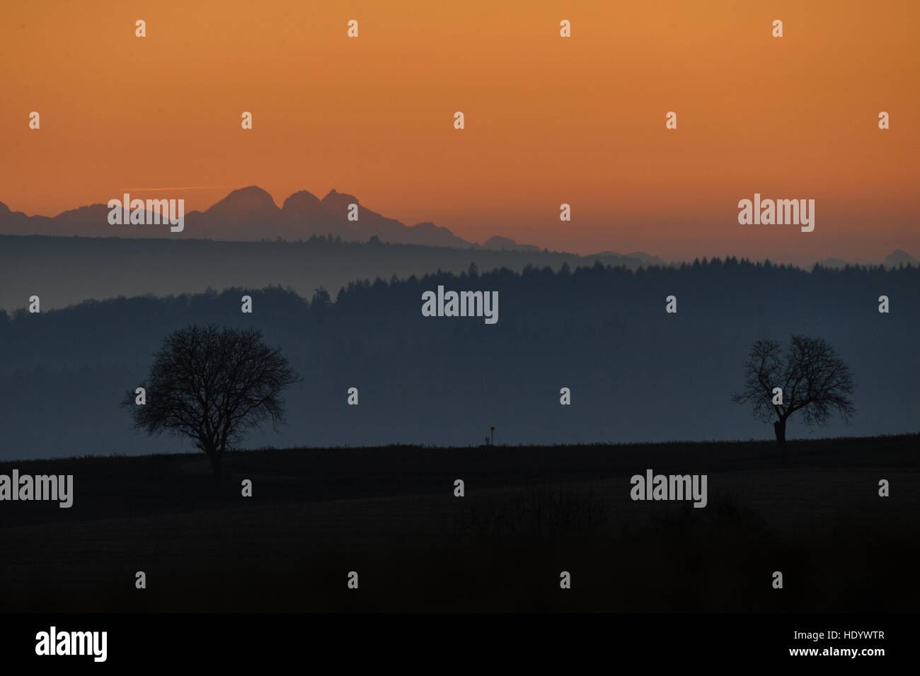 Owingen, Germany. 14th Dec, 2016. A foggy countryside landscape around Lake Constance after subset near Owingen, Stock Photo