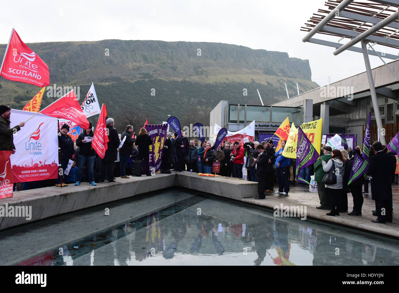 Edinburgh, Scotland, UK. 15, December, 2016. A joint Trades Unions demonstration against council budget cuts outside - Stock Image