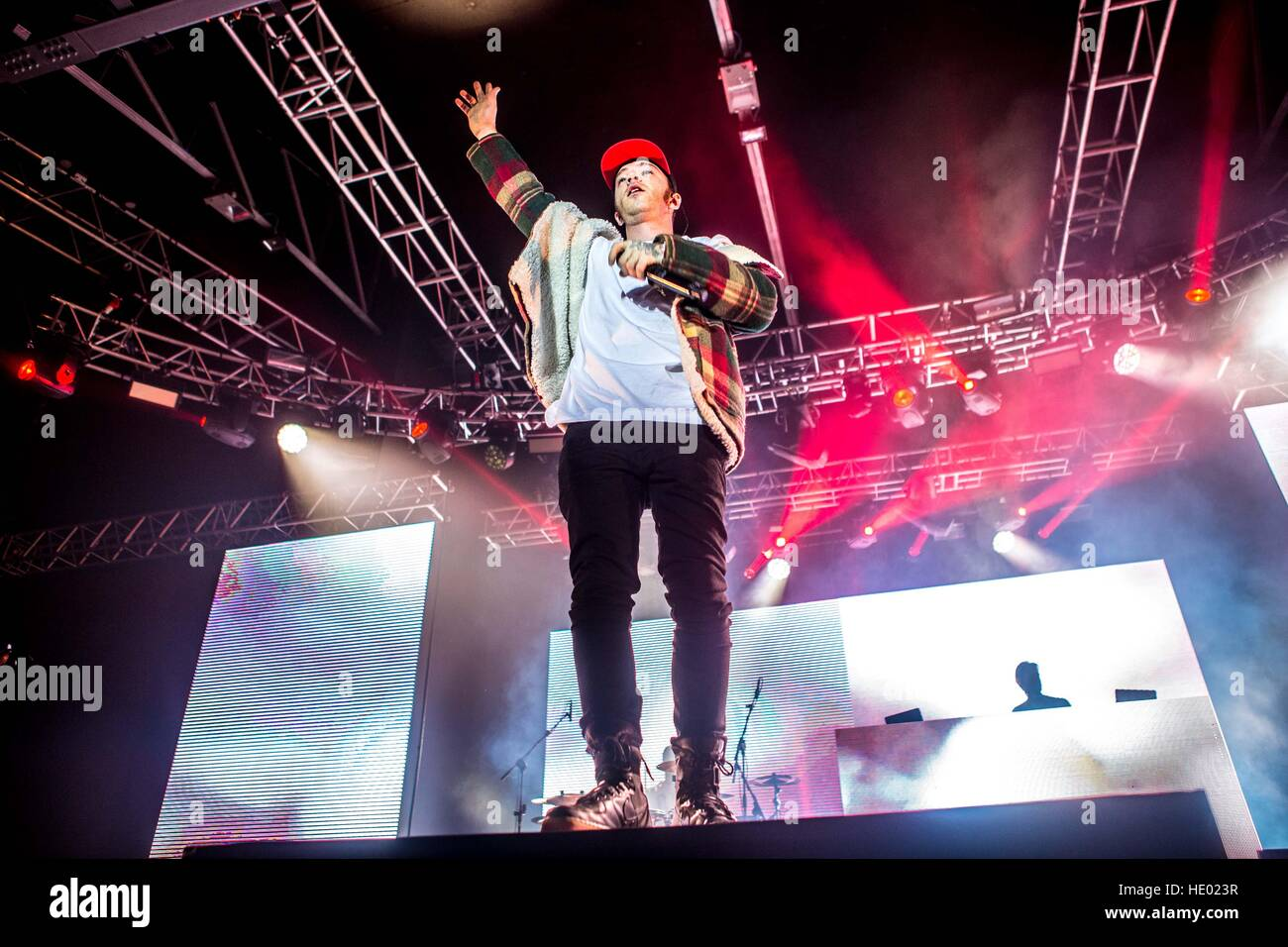 Milan, Italy. 15th Dec, 2016. Italian rapper Salmo performs live at Fabrique in Milano, Italy, on December 15 2016 Stock Photo