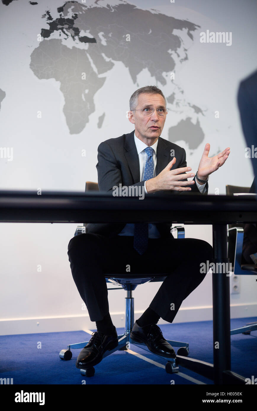 Brussels, Belgium. 16th Dec, 2016. NATO General Secretary Jens Stoltenberg, photographed in his office at the NATO Stock Photo