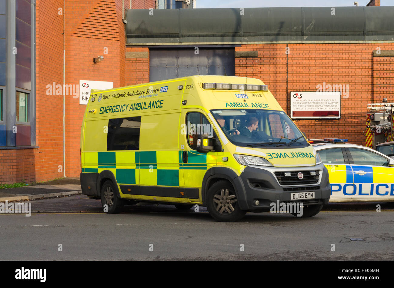 7b9077f521 Ambulance leaving HMP Birmingham during a riot on 16 December 2016 - Stock  Image