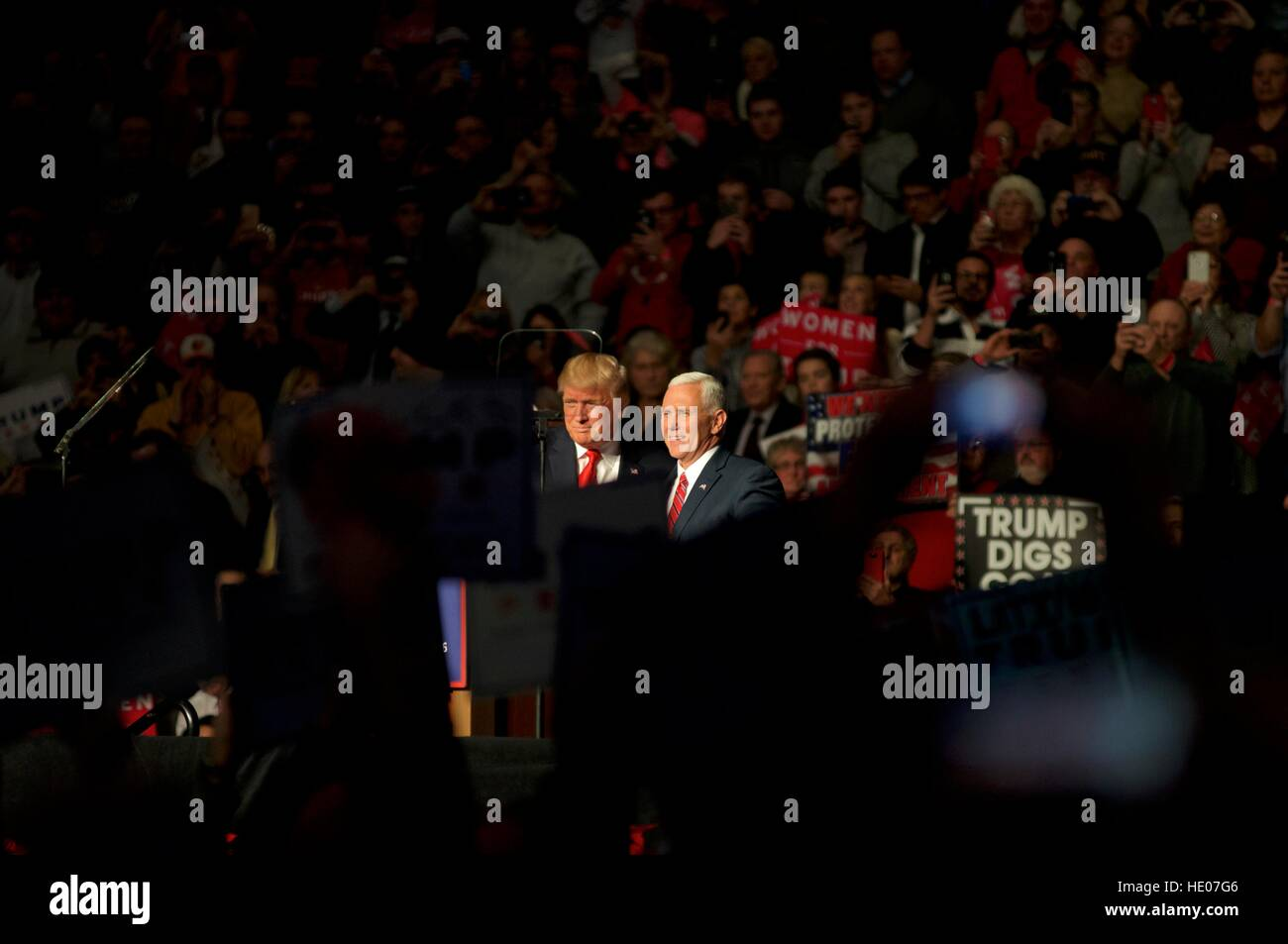 Hershey, Pennsyvlania, USA. 15th Dec, 2016. President-Elect Donald Trump and Vice-President-Elect Mike Pence hold a post-election Thank You Tour event of at the Giant Center in Hershey, PA. Credit: Bastiaan Slabbers/Alamy Live News Stock Photo