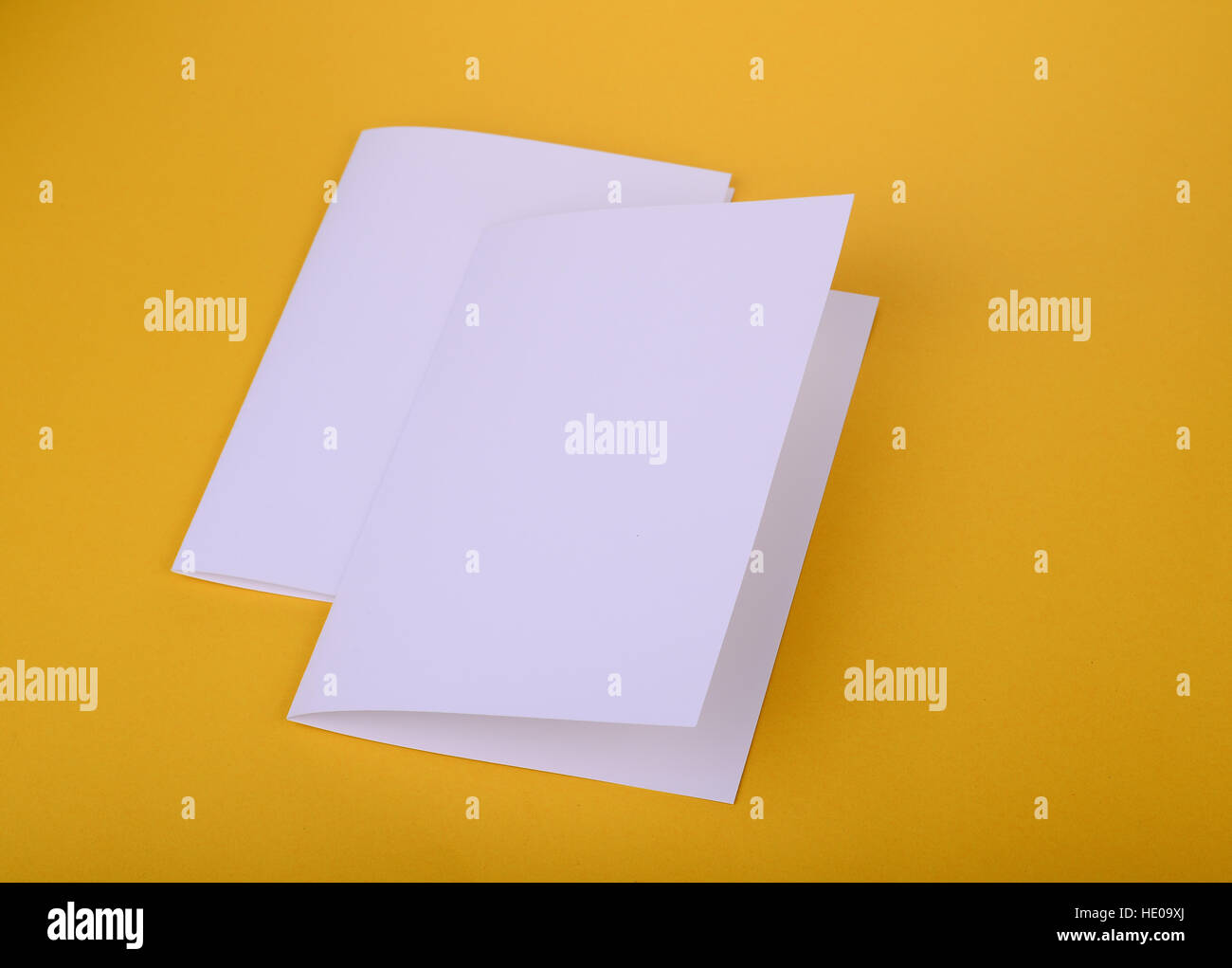 two white paper bifold brochure mockup on yellow background stock