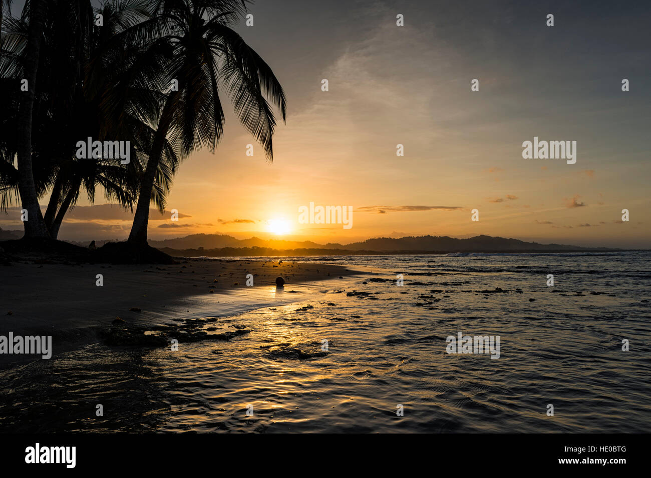 View of a beach with palm trees at sunset in Puerto Viejo de Talamanca, Costa Rica, Central America; Concept for - Stock Image