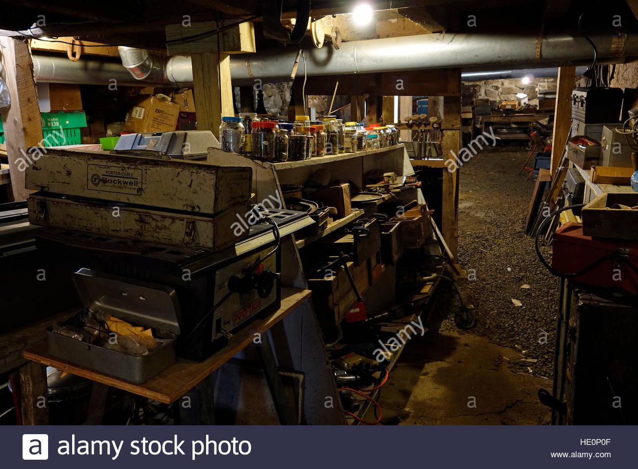 Basement of Liberty Tool Company, Maine, USA. - Stock Image
