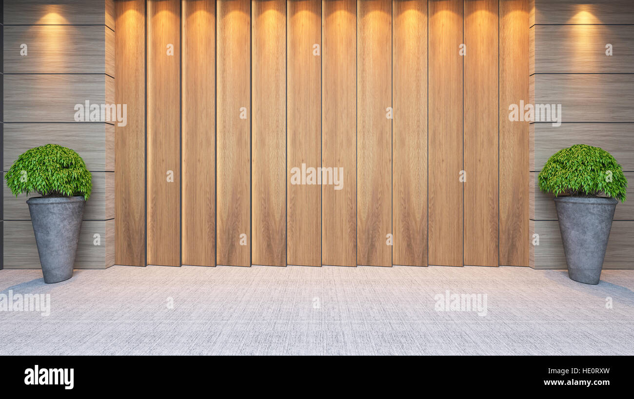 modern wooden panel wall decor design idea with plant and carpet