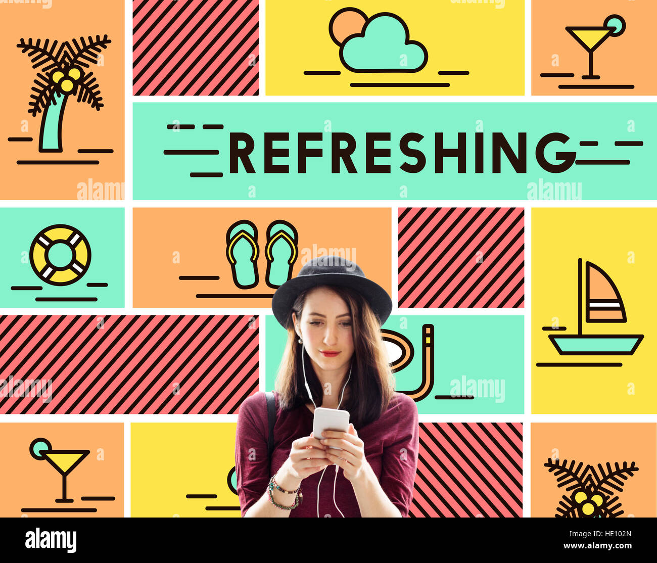 Refreshing Refreshment Renew Rethink Restart Concept - Stock Image