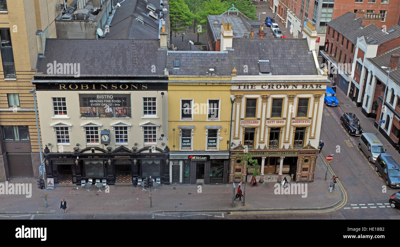 Famous Crown Bar and Robinsons,Gt Victoria St,Belfast - Stock Image