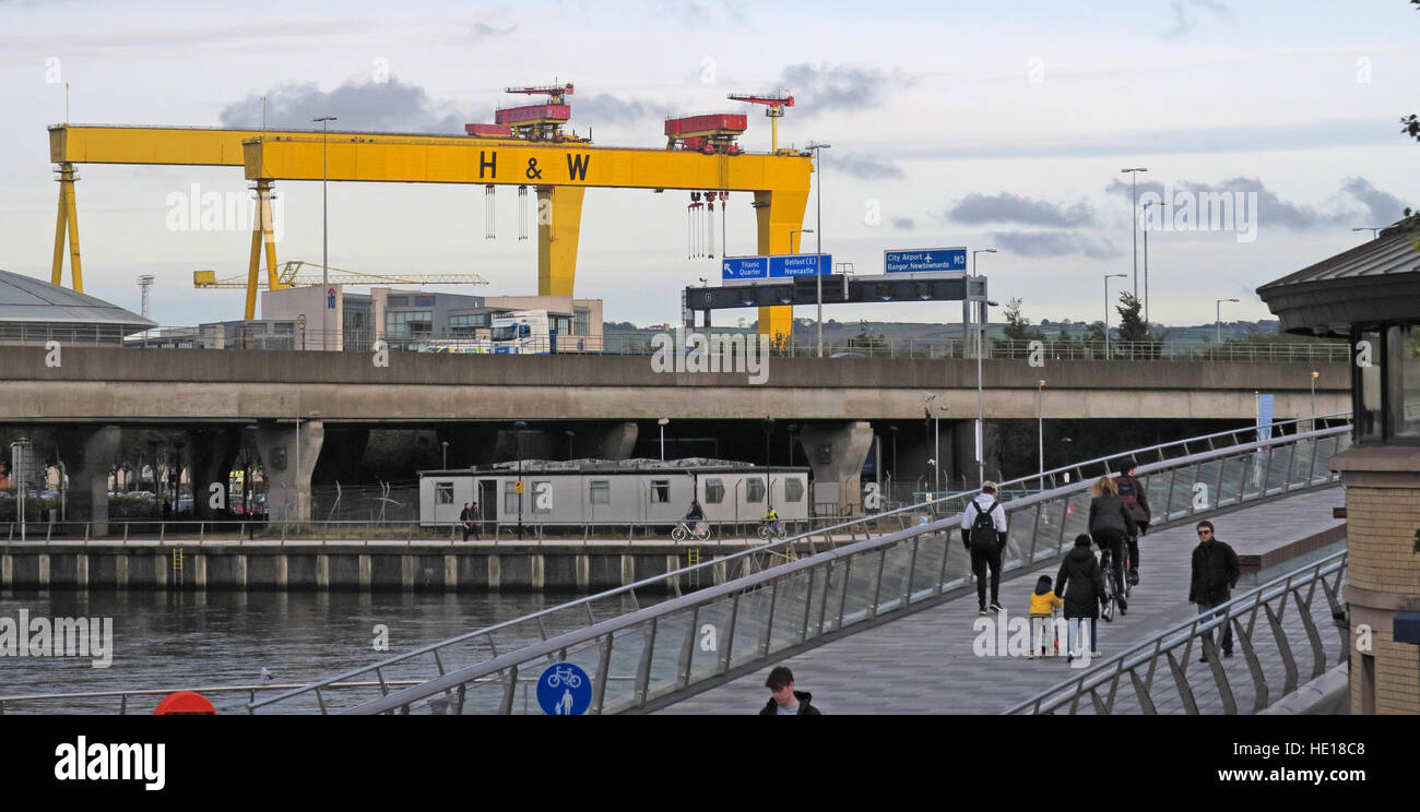 Harland & Wolff yellow cranes, Samson and Goliath,over Belfast, NI (from Krupp) - Stock Image