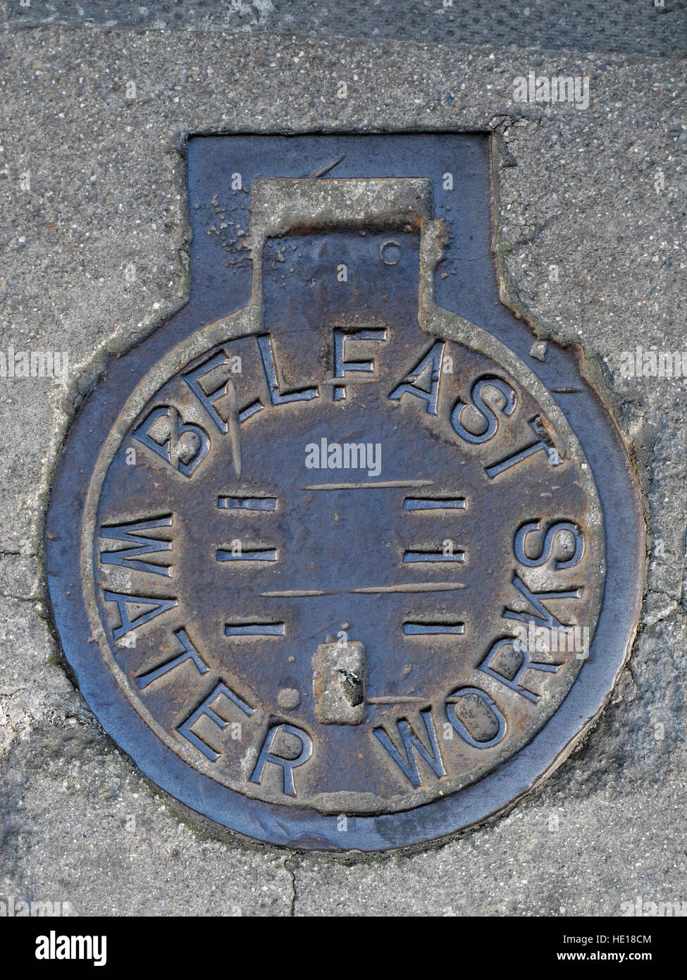 Belfast Water Works Cast Iron Manhole Grid, Northern Ireland, UK - Stock Image