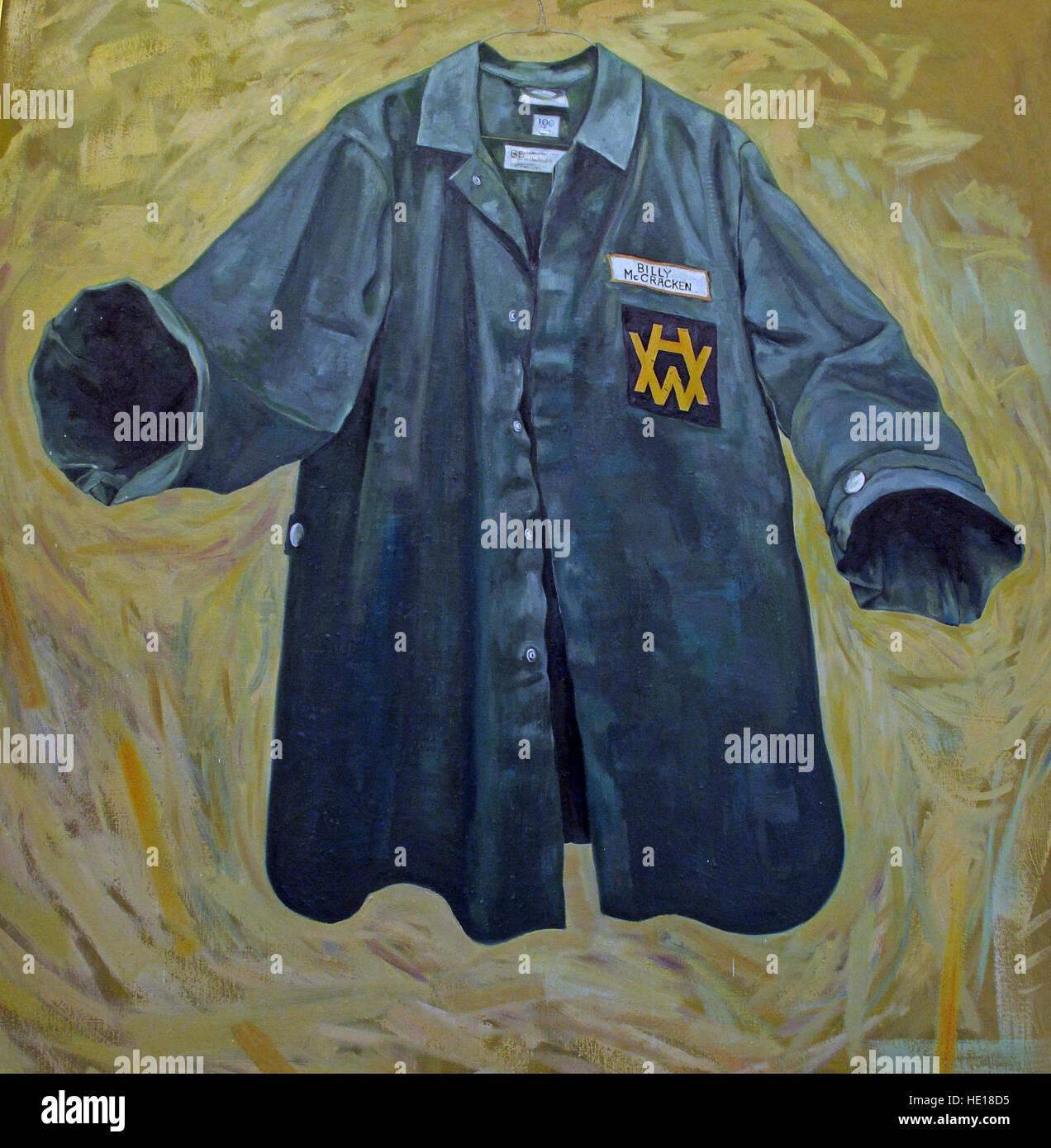 Harland & Wolff blue shirt, Billy McCracken - Marine Sales Manager artwork, Belfast, Northern Ireland, UK - Stock Image