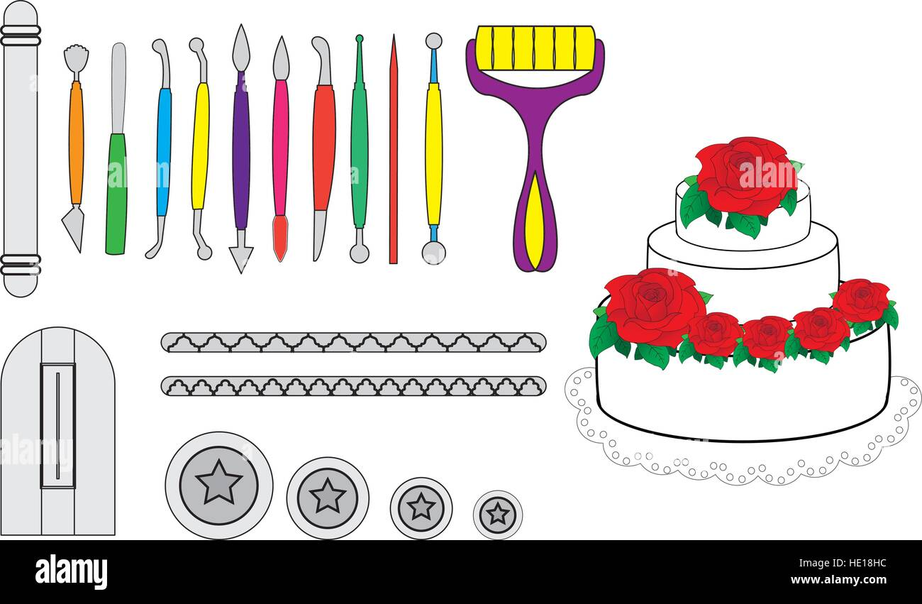 Modelling Tools for Icing & Decorating Sugarpaste, Marzipan, Pastillage. Tools for cake decorating. Birthday - Stock Vector