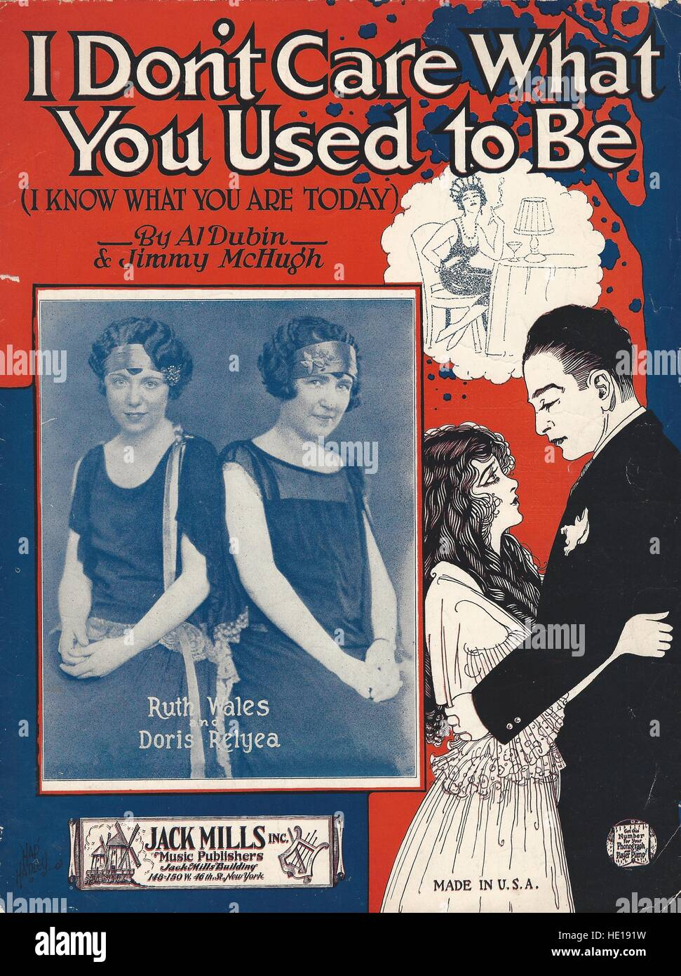 """""""I Don't Care What You Used to Be"""" 1925 Sheet Music Cover Stock Photo"""